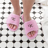 Initial Monogram Personalized Pink Spa Slippers - 7898