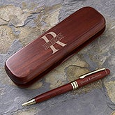 Personalized Rosewood Pen Set with Engraved Name - 7930