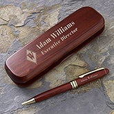 Personalized Pen Set - Engraved Rosewood Executive Monogram - 7931