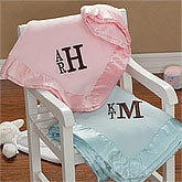 Personalized Fleece Baby Boy Blankets with Monogram