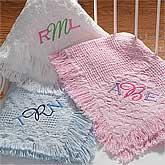 Personalized Pink Baby Blankets with Embroidered Monogram