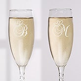 Personalized Champagne Flute Set with Monogram - Toast To Love - 7975