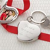 Personalized Heart Photo Locket Keychain - Key To My Heart - 7996