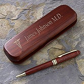 Engraved Rosewood Pen Set - Medical Style - 8008