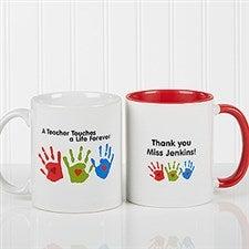 Personalized Teacher Coffee Mug - Kids Handprints - 8027