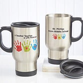Personalized Teacher Travel Mugs - Kids Handprints - 8028