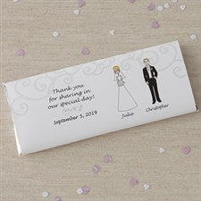 Personalized Bride & Groom Character Candy Bar Wrappers - 8034