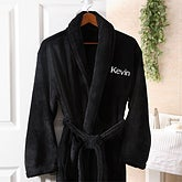 Men's Personalized Spa Robe - Black Microfleece - 8057