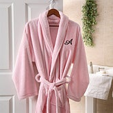 Women's Personalized Spa Robe - Pink Microfleece - 8058