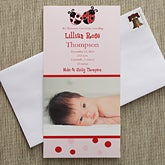 Baby Girl Personalized Photo Birth Announcements - Love Bug - 8062