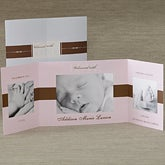 Personalized Photo Baby Announcement Gatefold Cards - Welcomed With Love - 8078