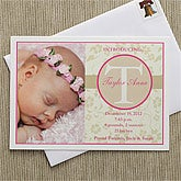 Floral Monogram© Photo Baby Announcement
