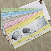 Personalized Triplets Baby Photo Birth Announcements - 8081