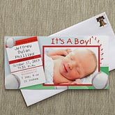Baby Boy Personalized Photo Birth Announcements - Baseball Slugger - 8088