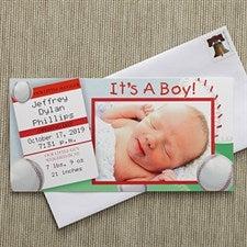 Baby Boy Personalized Photo Birth Announcements - Baseball Slugger - 8088