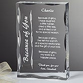 Personalized Poetry Gifts - Engraved Because of You Sculpture - 8096