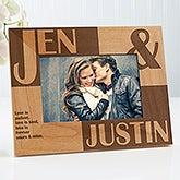 Romantic Personalized Picture Frames - Because of You Horizontal Design