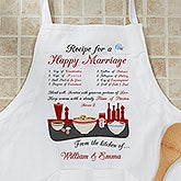 Personalized Apron and Potholder - Recipe for a Happy Marriage Design - 8160