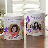 Personalized Photo Coffee Mug for Her - Floral Design - 8162
