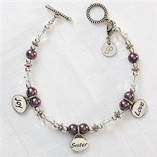 Personalized Charm Bracelet - Joy, Sister, Love - 8251