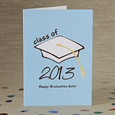 Personalized Graduation Cap Greeting Card - Congrats Grad - 8346
