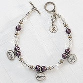 Personalized Charm Bracelet for Mom - Love, Mother, Joy - 8348