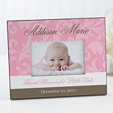personalized baby picture frame floral damask 8459