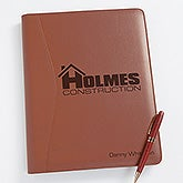 Business Logo Personalized Leather Portfolio - 8551