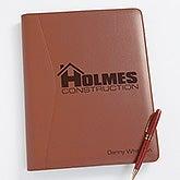 Business Logo Personalized Leather Portfolio - 8551