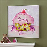 Personalized Canvas Art for Girls - Cupcake - 8631