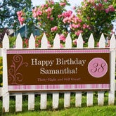 Personalized Birthday Banner - Women's Floral Design - 8640