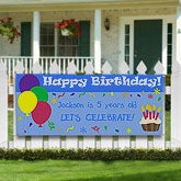 Personalized Kids Birthday Party Banner - Balloons & Cupcakes - 8641