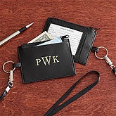 Personalized Leather ID Card Holder with Monogram - 8738
