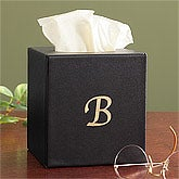 Personalized Tissue Box Cover - Black Leather - 8741