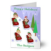 Personalized Sledding Family Characters Christmas Cards - 8777