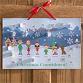 Personalized Christmas Countdown Calendar - Winter Family Characters - 8812