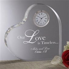 Personalized Romantic Glass Heart Clock - 8856