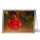 Personalized Red Ornament Christmas Cards - 8883