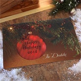 Personalized Christmas Doormat - Red Ornament - 8885