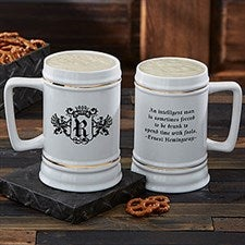 Personalized Ceramic Beer Stein - Choose Famous Quotes - 8894
