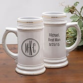 Personalized Groomsmen Beer Stein With Monogram - 8895