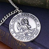 Engraved St. Christopher Medallion for Men - 8957