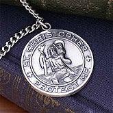 Engraved St. Christopher Medallion for Men - 8957