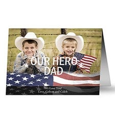 Personalized Photo Military Greeting Cards - Stars & Stripes - 9070