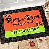 Personalized Halloween Doormat - Trick of Treat Wipe Your Feet - 9152
