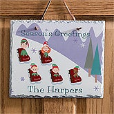 Personalized Winter Wall Decorations - Sledding Family Slate Plaque - 9185