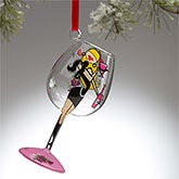 Personalized Christmas Ornaments - Wine Glass Diva - Blonde