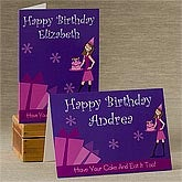 Birthday Girl Personalized Birthday Cards - Vertical