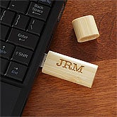 Personalized USB Flash Drive - Engraved Monogram - Bamboo - 9218