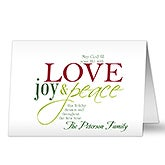 Words of Christmas Personalized Greeting Cards - 9243